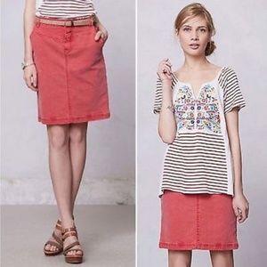 Anthropologie Red Denim Skirt